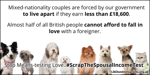 Mixed-nationality couples are forced by our government to live apart if they earn less than £18,600. Almost half of all British people cannot afford to fall in love with a foreigner. Stop Means-testing Love. #ScrapTheSpousalIncomeTest